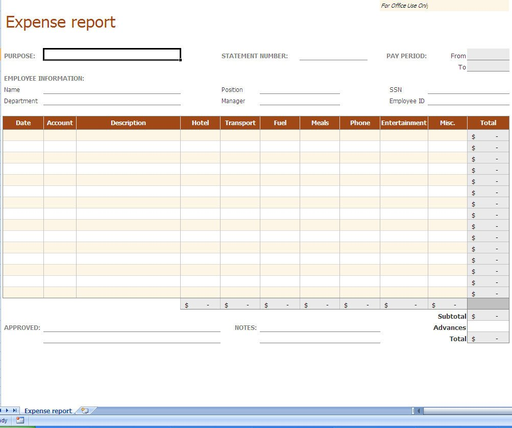 Expense Report Templates Excel Expense Report Excel Template