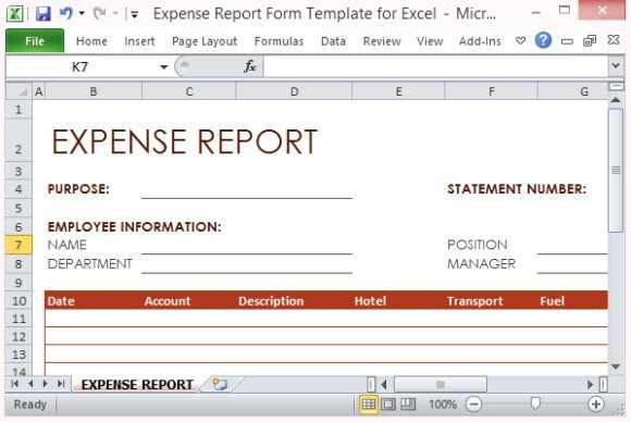 Expense Report Templates Excel Expense Report form Template for Excel