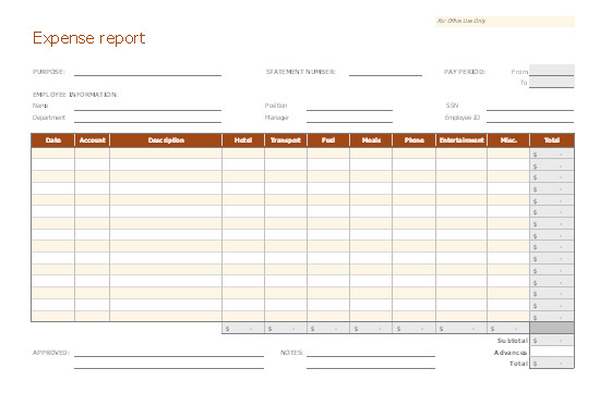 Expense Report Templates Excel Expense Report
