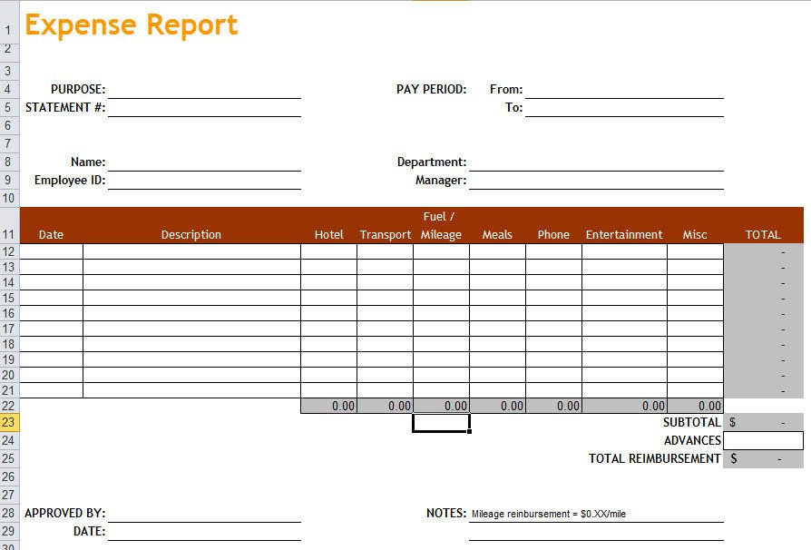 Expense Report Templates Excel Expense Report Template In Excel