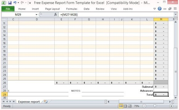 Expense Report Templates Excel Free Expense Report form Template for Excel