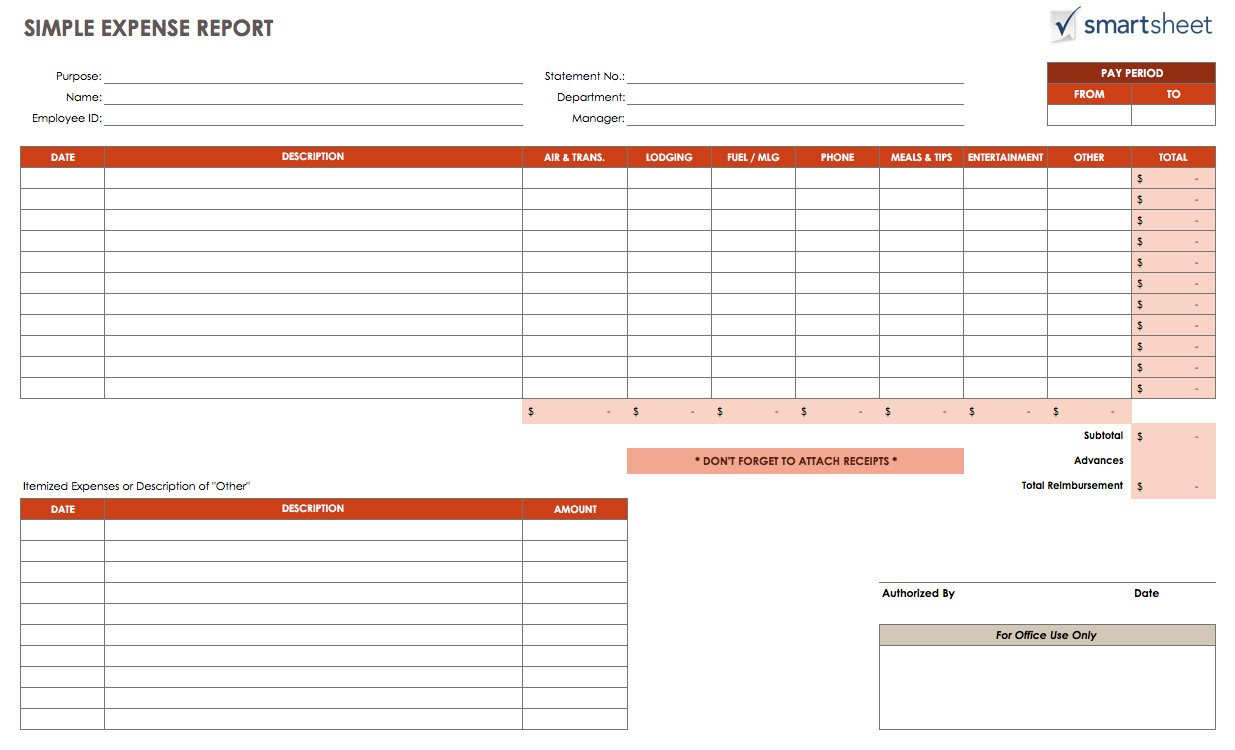 Expense Report Templates Excel Free Expense Report Templates Smartsheet