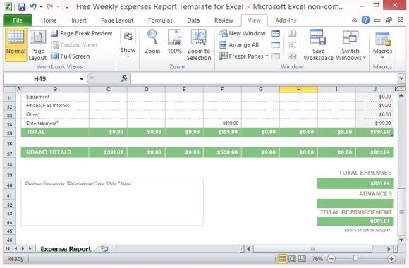 Expense Report Templates Excel Free Weekly Expenses Report Template for Excel