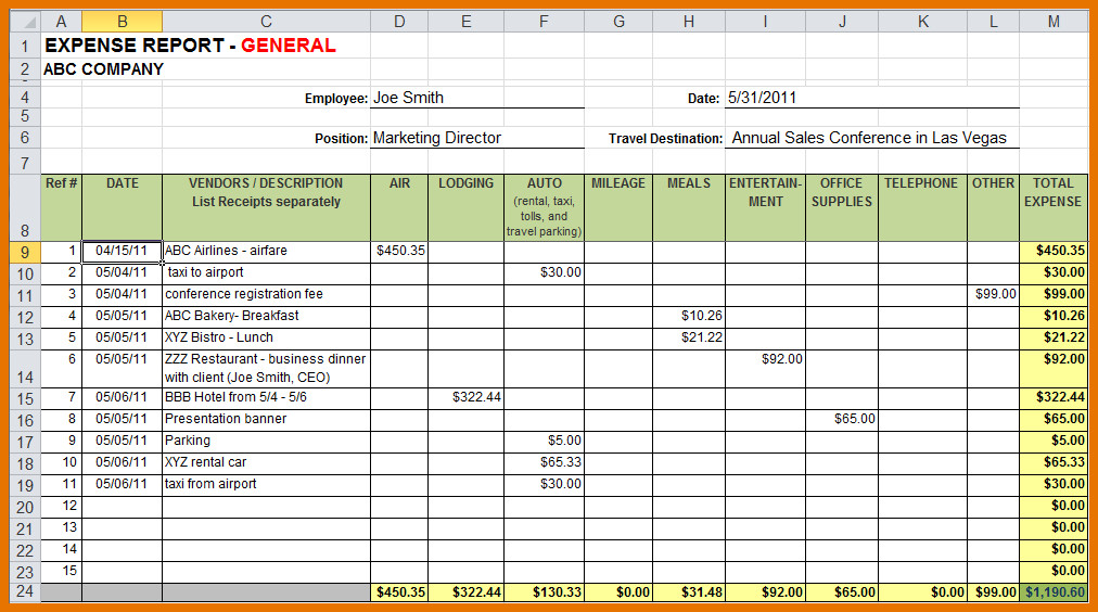 Expense Report Templates Excel Sample Expense Report