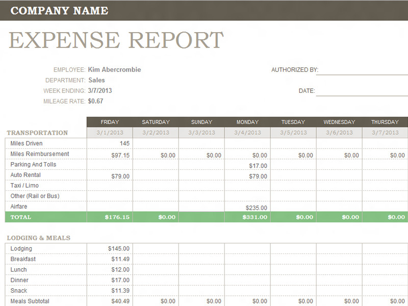 Expense Report Templates Excel Weekly Expense Report Template Microsoft Fice Templates