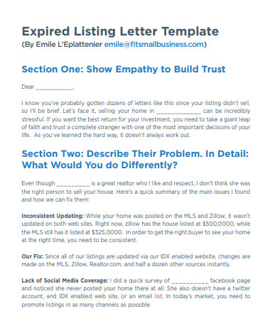 Expired Listing Letter Template 7 Best Expired Listing Letter Examples & Templates