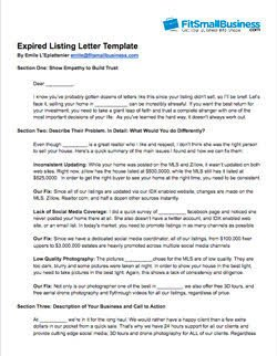Expired Listing Letter Template Expired Listing Letter Free Examples that Work