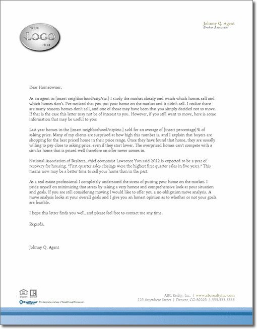 Expired Listing Letter Template Expired Listing Letter Template