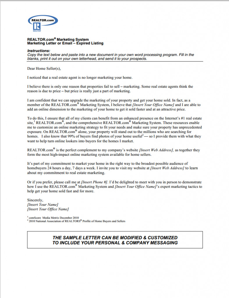 Expired Listing Letter Template the Best Expired Listing Letter S for 2014