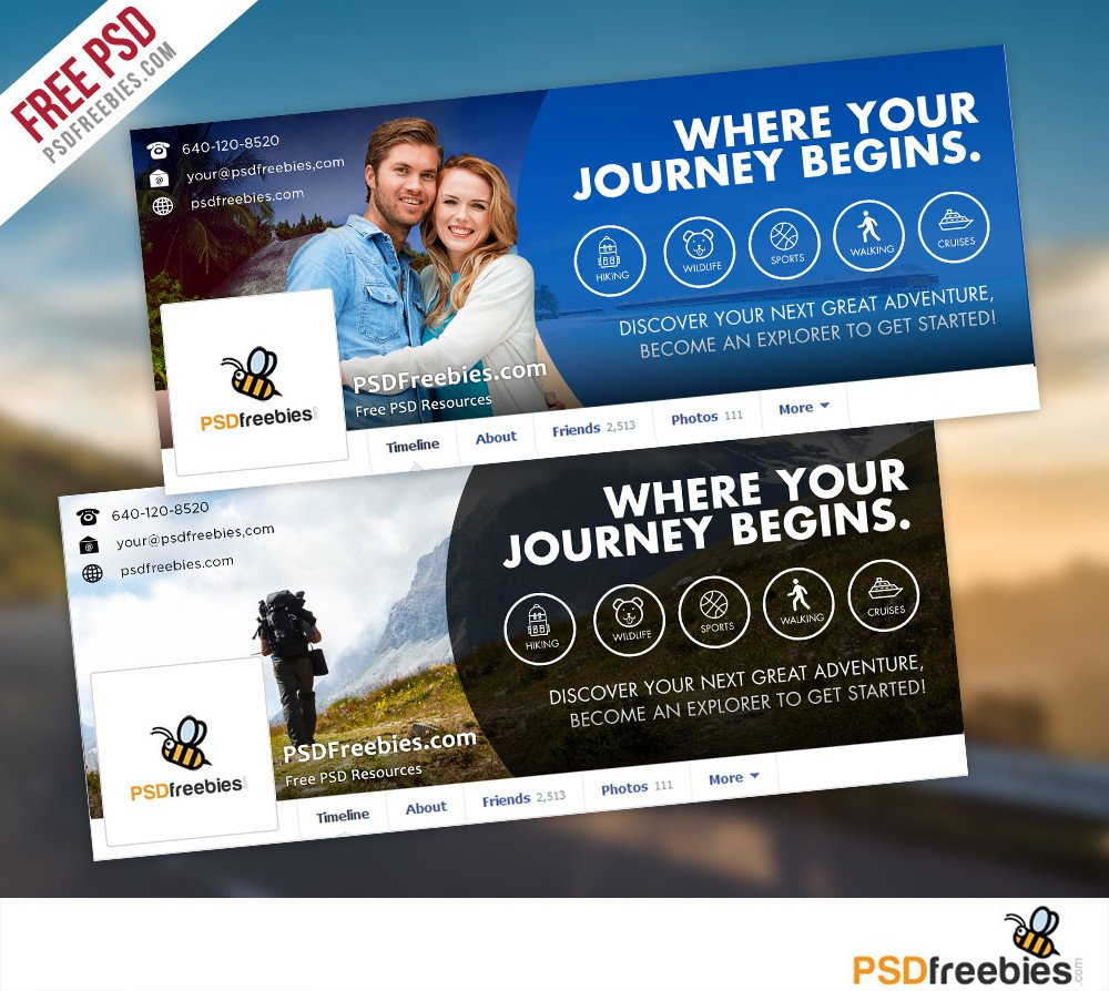 Facebook Cover Photoshop Template Travel Timeline Covers Free Psd Templates