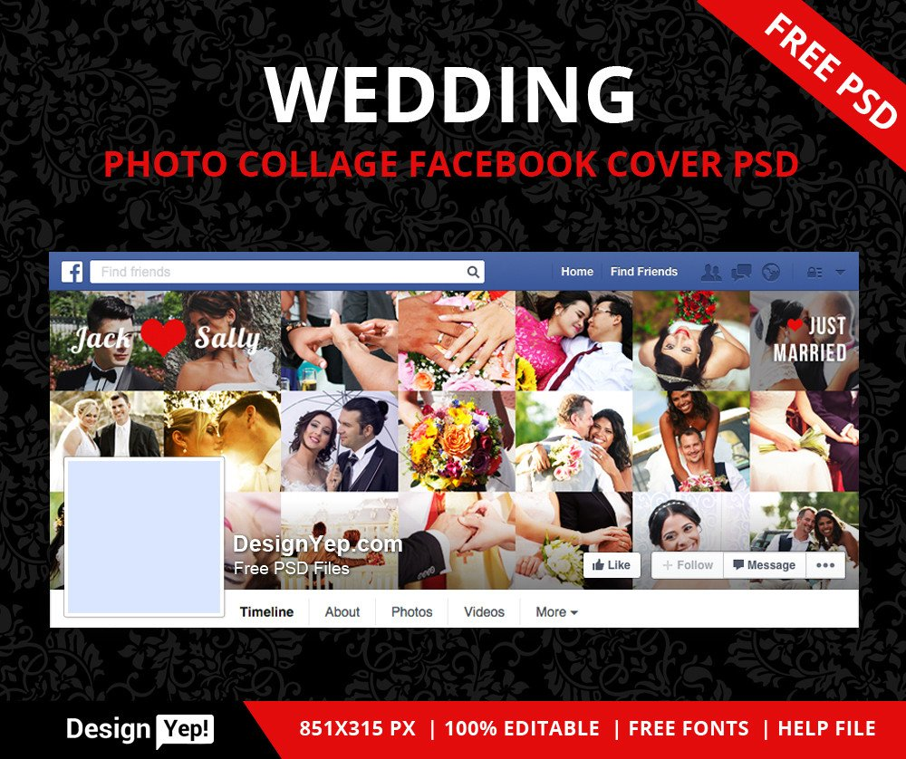 Facebook Cover Template Psd 75 Free Must Have Wedding Templates for Designers