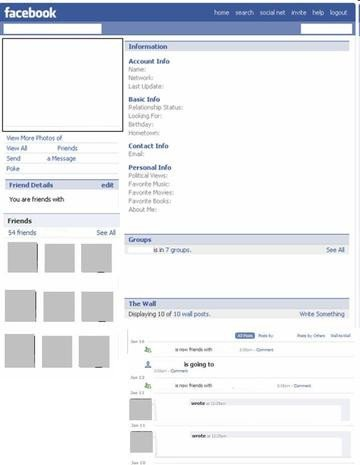 Facebook Profile Page Template Page Template