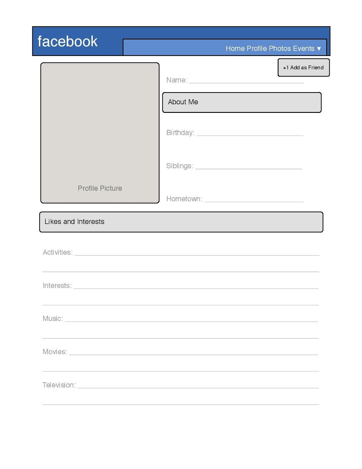 Facebook Profile Page Template Simple Profile Template Great for Introduction