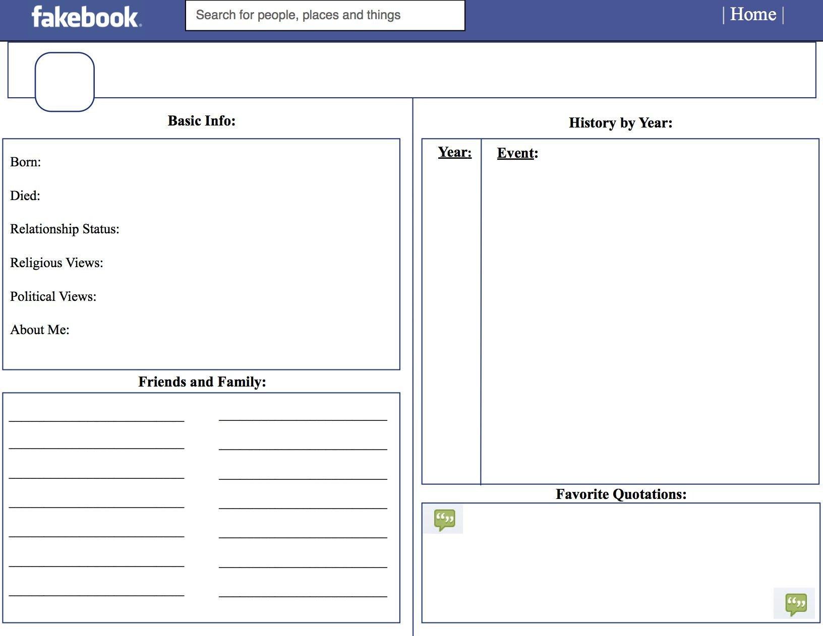 Facebook Profile Page Template Template for Teachers School