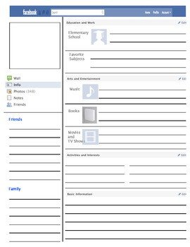 Facebook Template for Students Profile Template by Vanessa Bingham