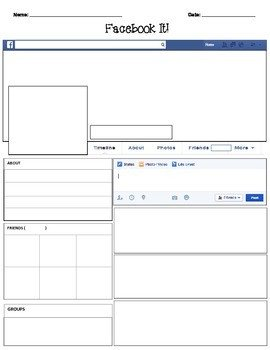 Facebook Template for Students Template Blank by Teacher Spot S Teacher