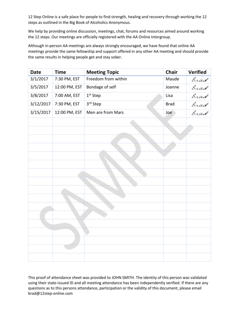 Fake Aa Signature Sheet Line Aa Meeting Proof Of attendance 12 Step Line