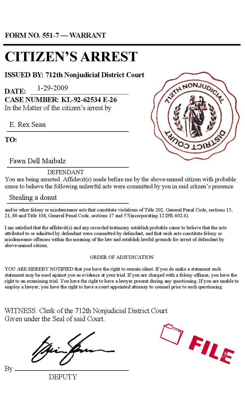 Fake Arrest Warrant Template Fake Citizens Arrest order Warrant Court form Police Phony