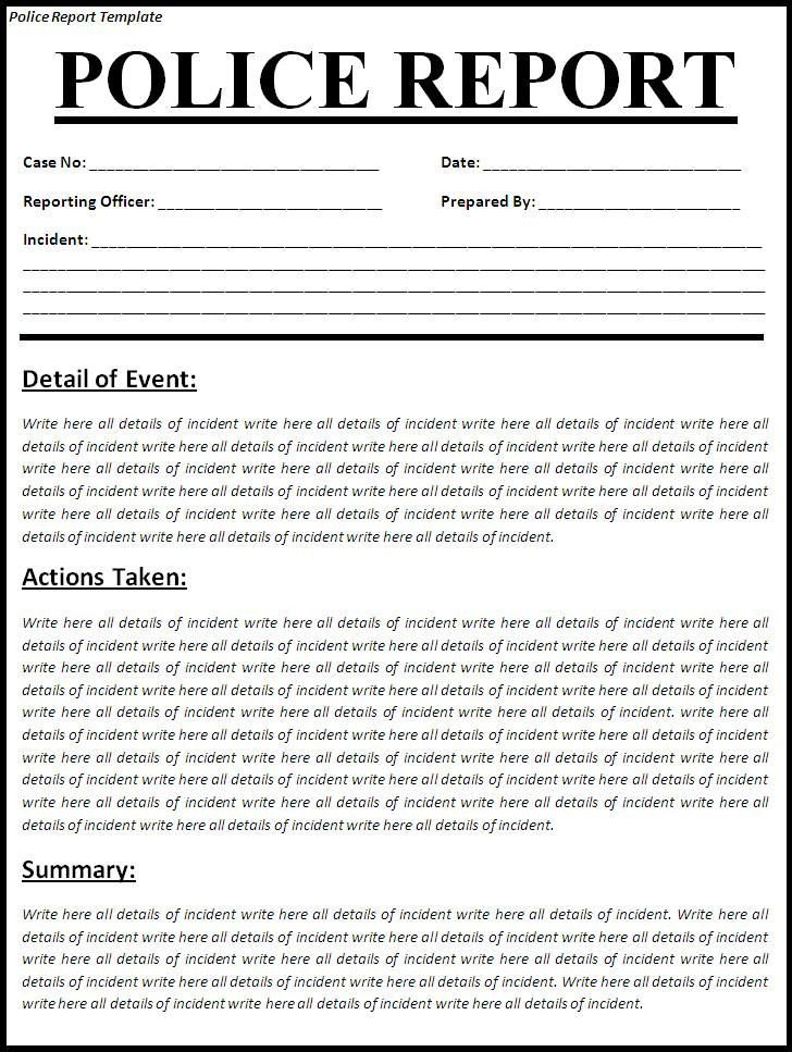 Fake Arrest Warrant Template Printable Sample Police Report Template form