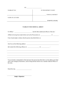 Fake Arrest Warrant Template Printable Warrant Criminal Arrest Legal Pleading Template