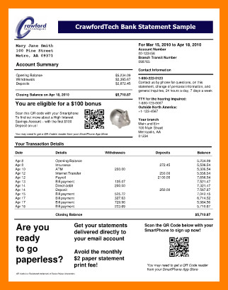 Fake Bank Statement Template 7 Bank Account Statement Sample