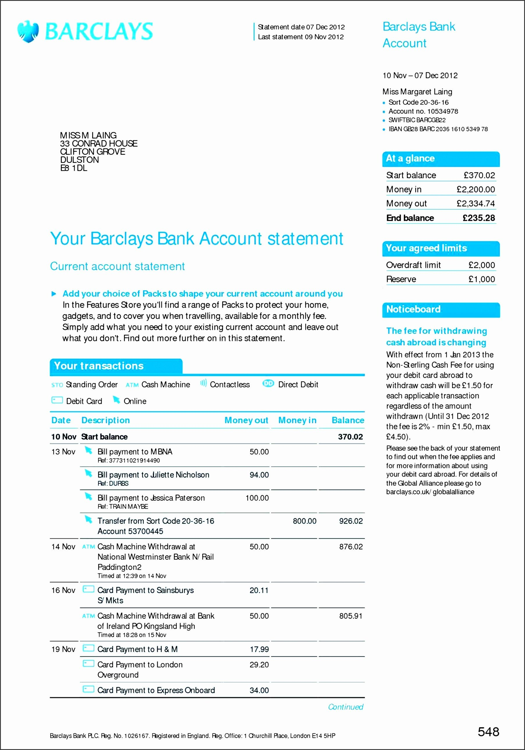 Fake Bank Statement Template 8 Free Bank Statement Line Sampletemplatess