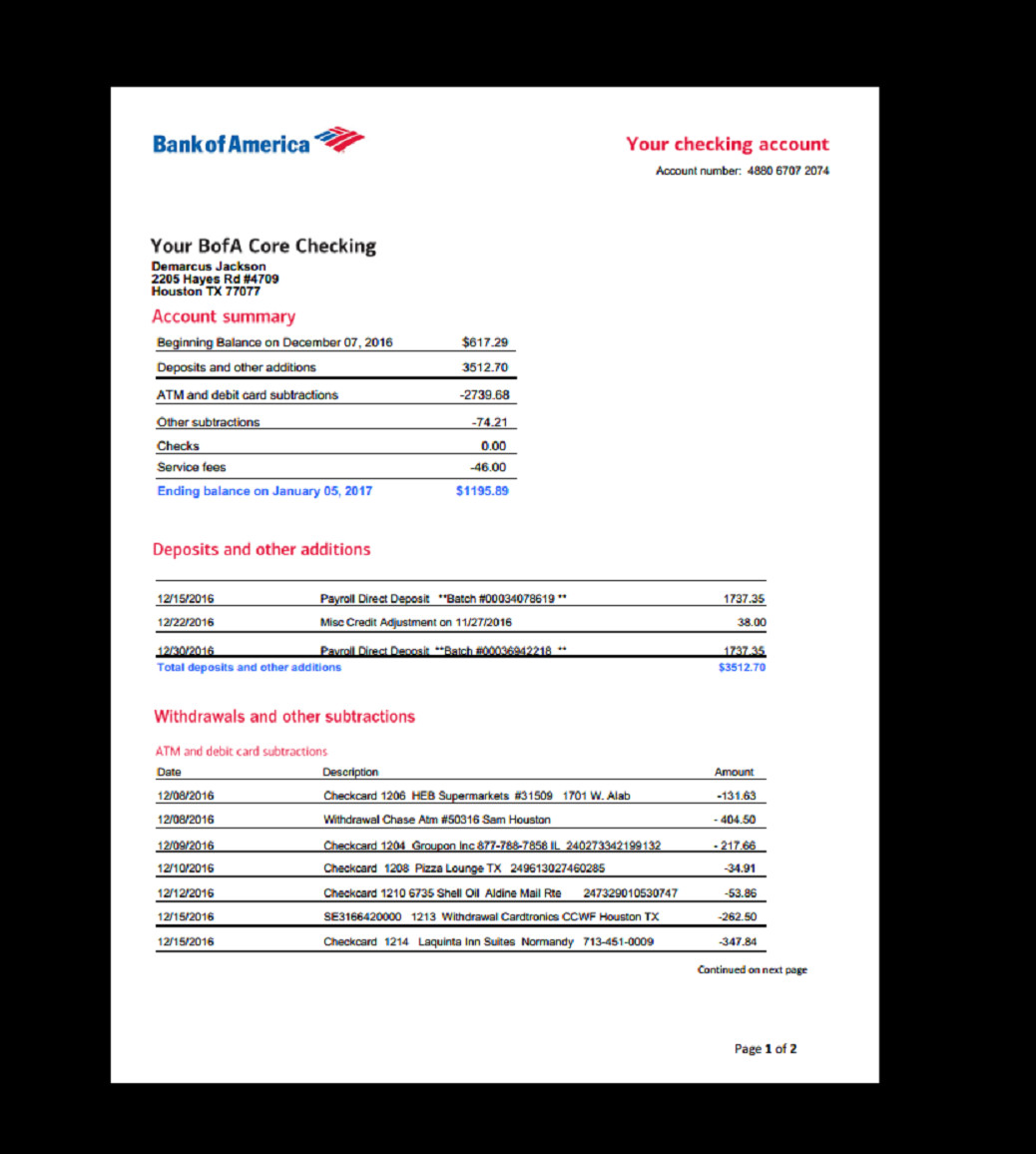 Fake Bank Statement Template Bank Statement Bank America In 2019