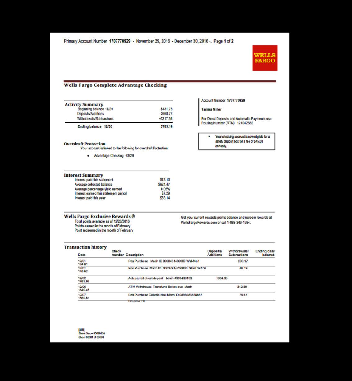 Fake Bank Statement Template Bank Statement Wells Fargo Template Fake Custom