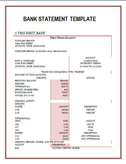 Fake Chase Bank Statement Template Bank Statement Template