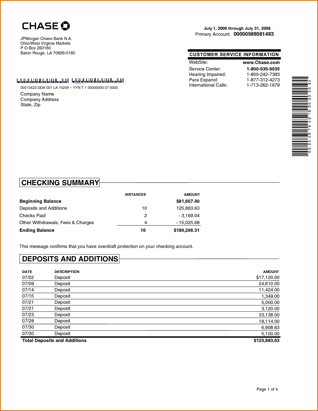 Fake Chase Bank Statement Template Chase Bank Statement Line Template