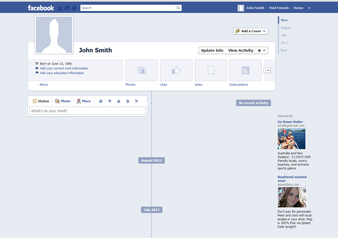 Fake Facebook Page Template Blank Template