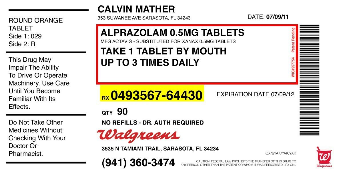 Fake Prescription Label Template Calvin S Alprazolam Sammy Thrashlife