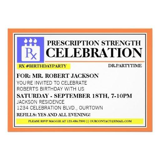 Fake Prescription Label Template Funny Prescription Label Party Invitations
