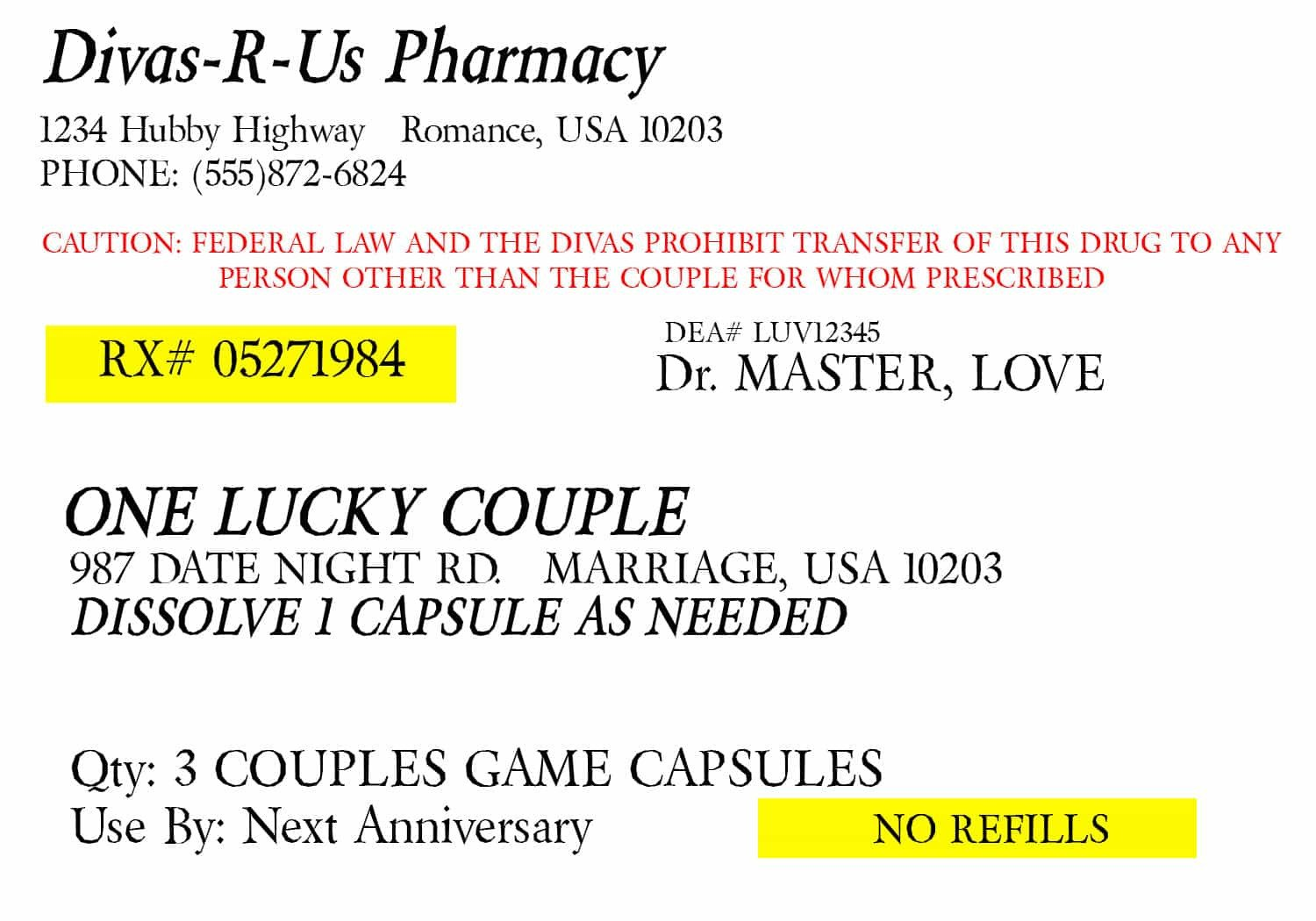 Fake Prescription Label Template Prescription for Fun A Free Printable Romance Idea
