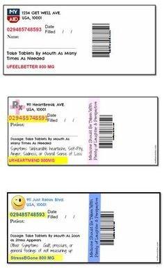 Fake Prescription Label Template Printable Rx Labels