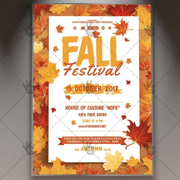 Fall Festival Flyer Templates Fall Festival Premium Flyer Psd Template