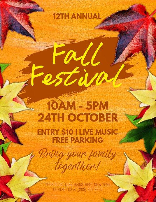 Fall Festival Flyers Template Fall Festival Flyer Template