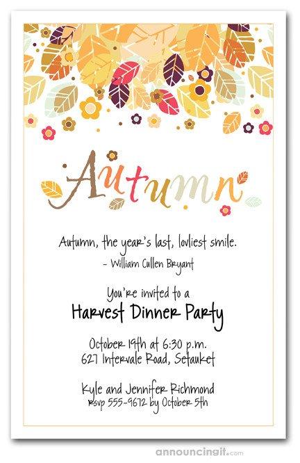 Fall Party Invitation Template Autumn Season Invitations Fall Invitations