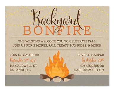 Fall Party Invitation Template Backyard Bonfire Party Invitations by Invitation