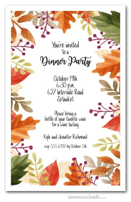 Fall Party Invitation Template Beautiful Autumn Leaves Fall Party Invitations