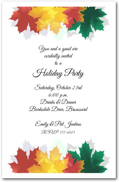 Fall Party Invitation Template Colorful Autumn Leaves Invitations Fall Party Invitations