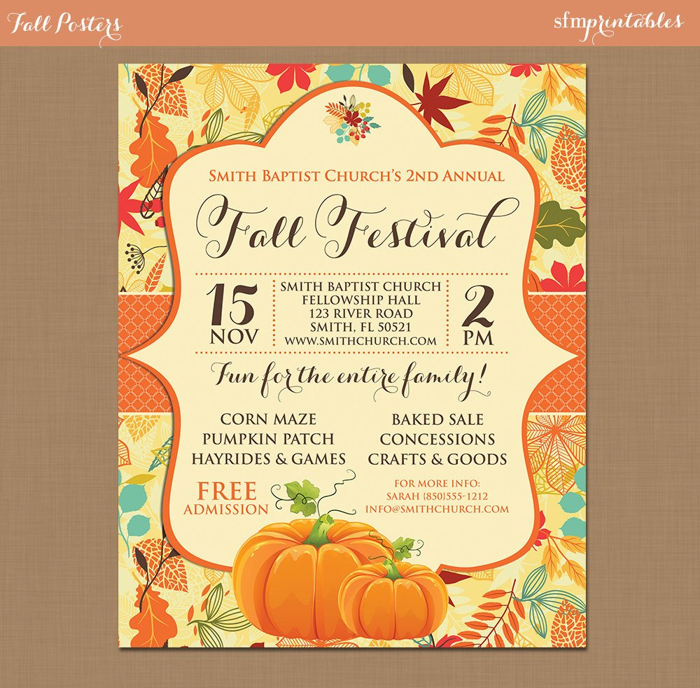Fall Party Invitation Template Fall Festival Harvest Invitation Poster Pumpkin Patch Farm