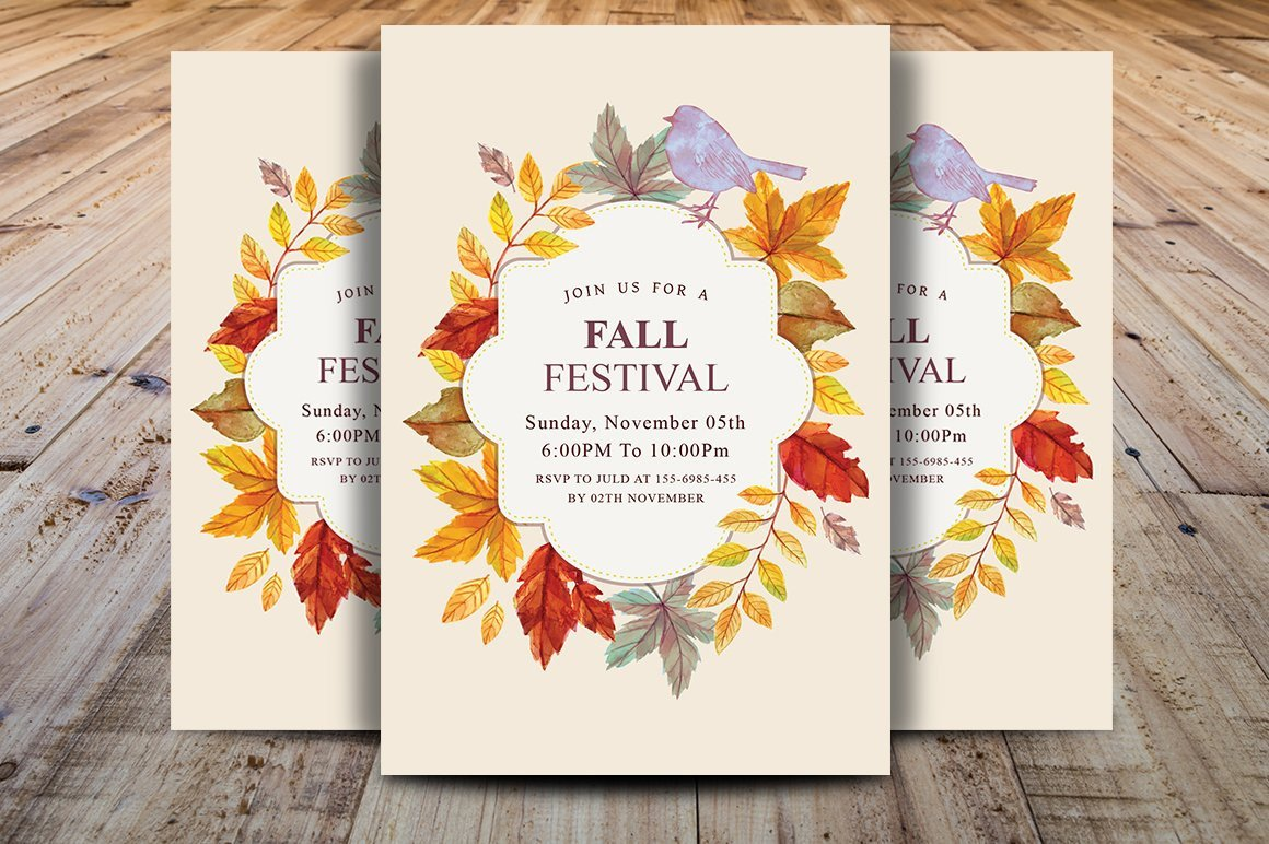 Fall Party Invitation Template Fall Harvest Party Invitation Postcard Templates