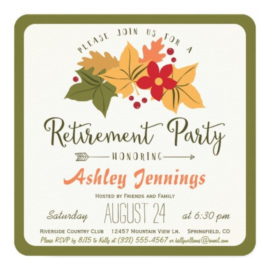 Fall Party Invitation Template Fall Leaves Flower Retirement Party Invitation