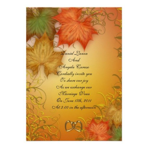 "Fall Party Invitation Template Fall Wedding Invitation or Party 5"" X 7"" Invitation Card"