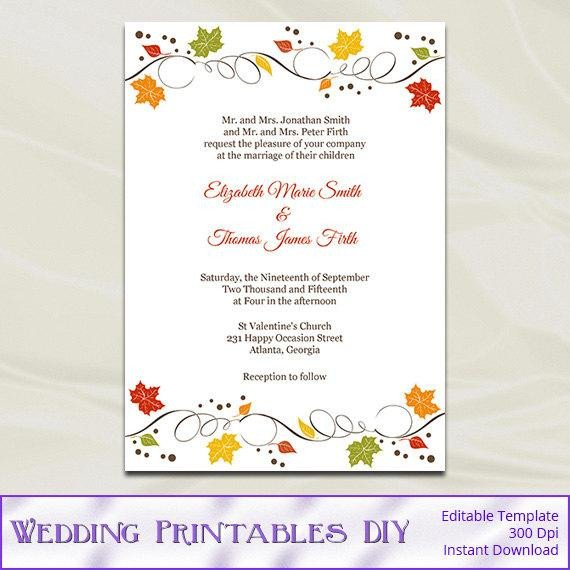 Fall Party Invitation Template Fall Wedding Invitations Template Diy Autumn Leaves Rustic