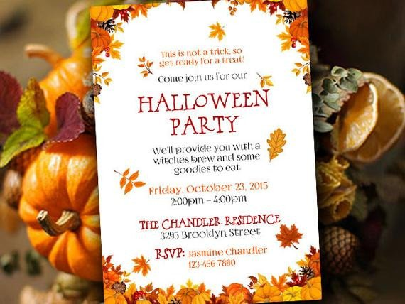 Fall Party Invitation Template Halloween Party Invitation Template Fall Party Invitation