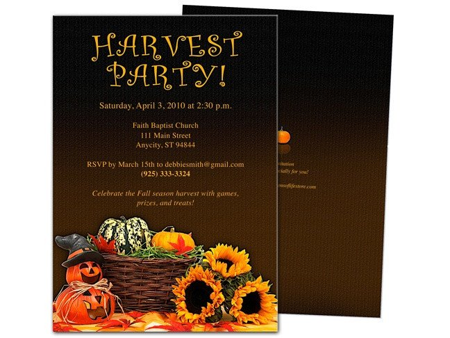 Fall Party Invitation Template Harvest Party Template