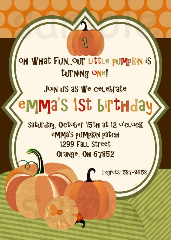 Fall Party Invitation Template Items Similar to Pumpkin Birthday Party Invitation Little
