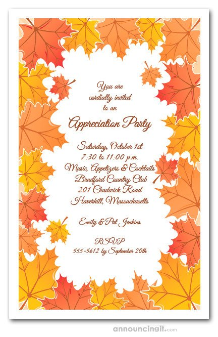 Fall Party Invitation Template Tangerine Fall Leaves Invitations Autumn Party Invitations